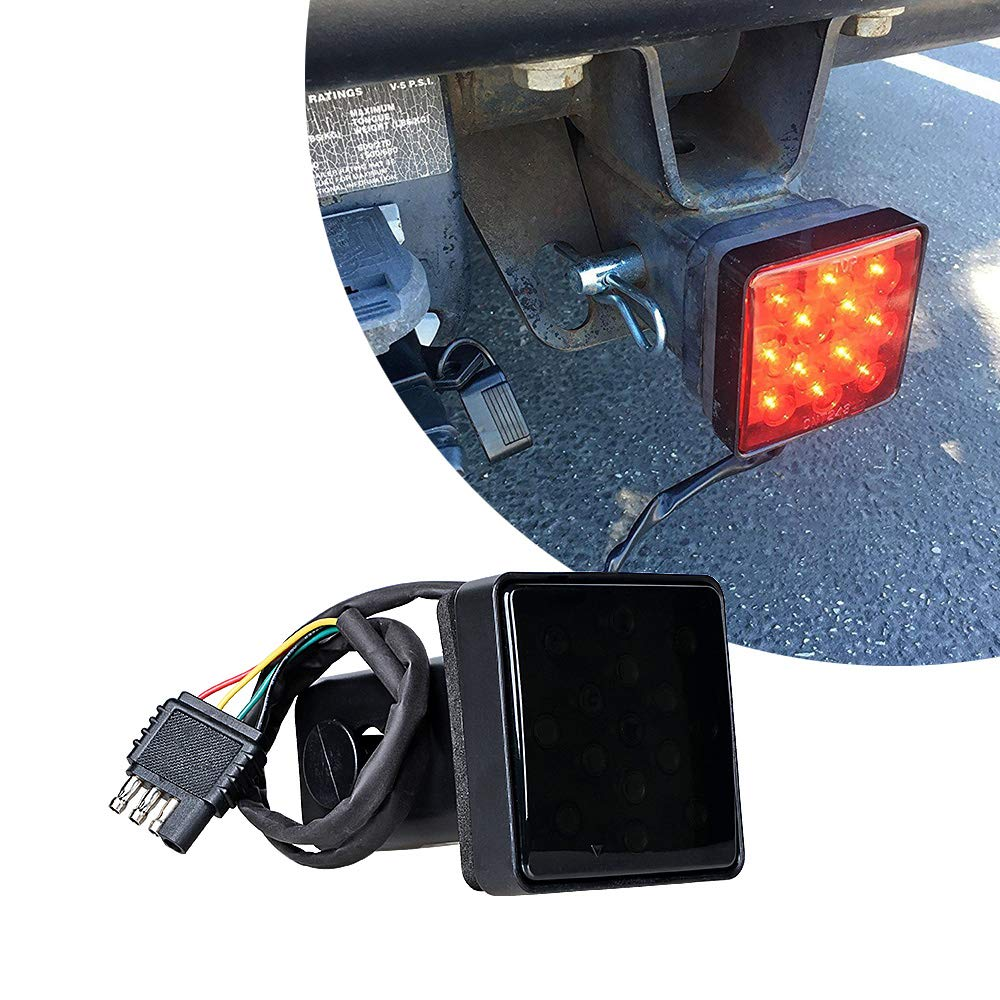 Anzio 2 Inch Smoked Lens Red Light 15 LED Super Bright Brake Lamp Trailer Hitch Receiver Cover for Truck SUV RV