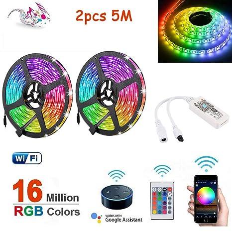 5//10M Flexible Smart WiFi RGB IP65 LED Light Strip for Alexa Amazon Google Home