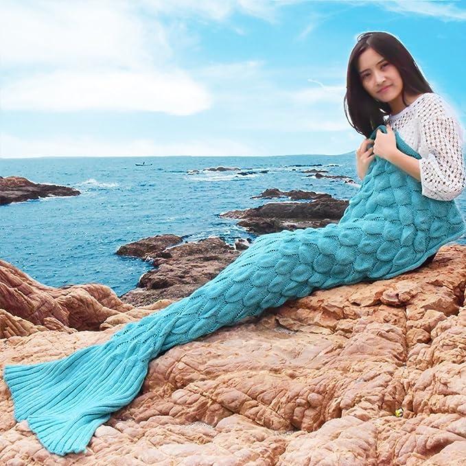 Sirena – Manta para adultos hechas a mano ganchillo todas las estaciones Super Suave & Warmer Saco de dormir manta regalo mejor amiga (Verde menta)