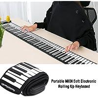Tbest 88-Key Hand Roll Piano, portátil Profesional 88 Teclas Teclado electrónico Hand Rolling Up Piano Batería incorporada de 1100mAh Li-on para Principiantes Adultos