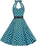 bbonlinedress 1950s Women's Halter Polka Dot Retro Rockabilly Cocktail Prom Dresses
