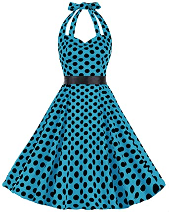 bbonlinedress 1950s Womens Halter Polka Dot Retro Rockabilly Cocktail Prom Dresses Blue Black BDot XL