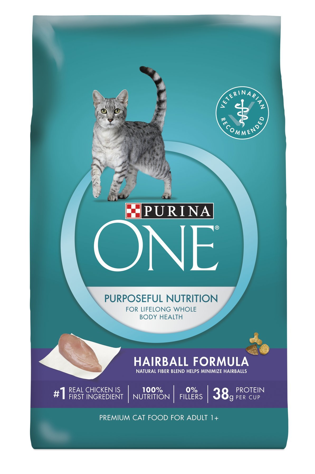 Purina ONE Hairball Formula Adult Premium Cat Food Standard Packaging