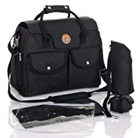 LCP Kids Baby Changing Bag RIO Black Nappy Diaper - carrying handle - pushchair universal fix hook