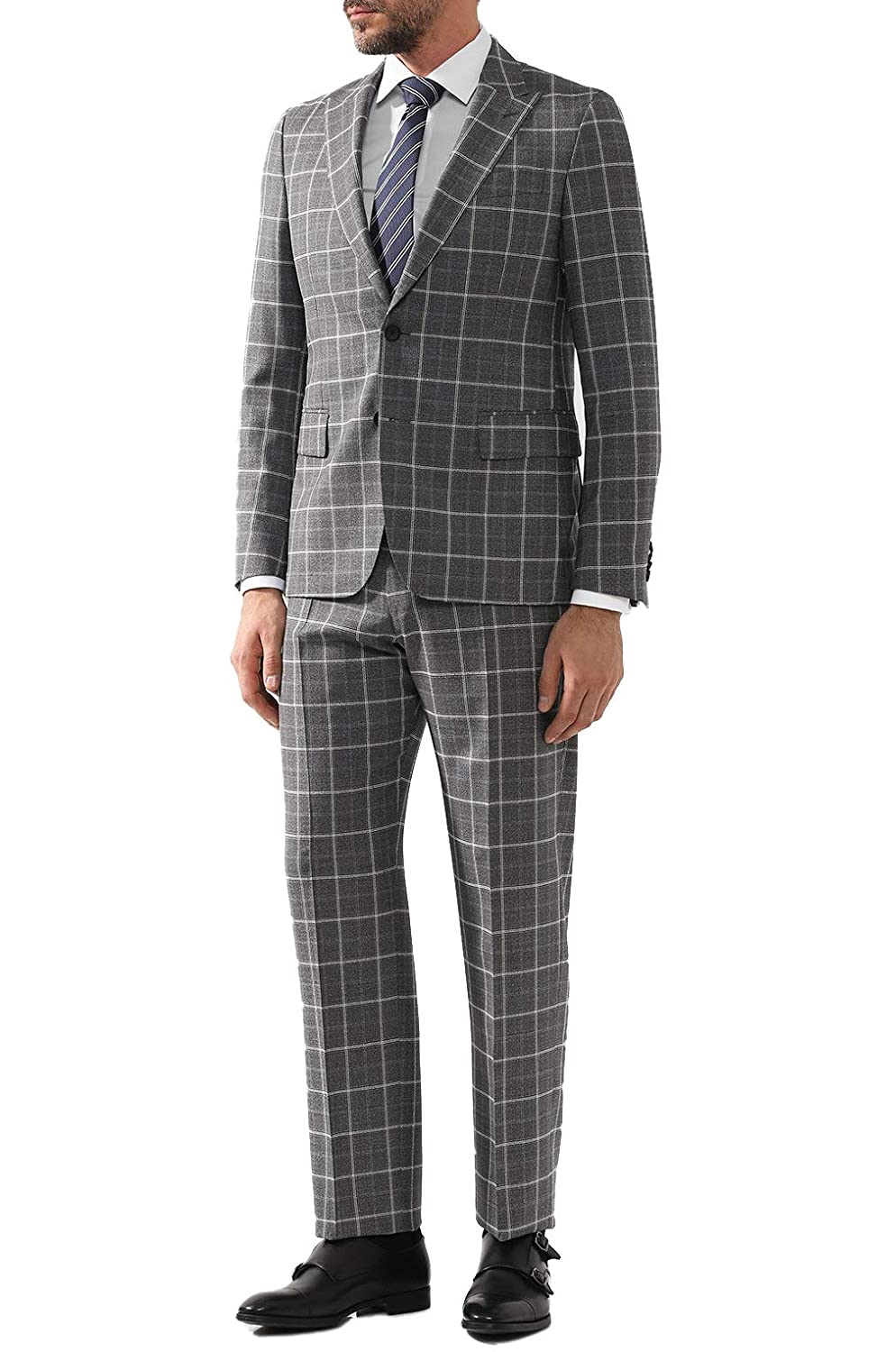 4702e3f1 Amazon.com: Hugo Boss Men's 'Sarlo/Petrow' Grey Slim Fit Virgin Wool  Checked Suit, Size 38R: Clothing