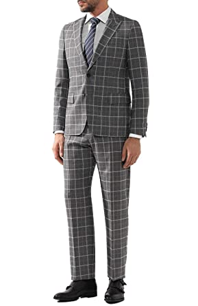 068a6e91 Image Unavailable. Image not available for. Color: Hugo Boss Men's  'Sarlo/Petrow' Grey Slim Fit Virgin Wool Checked Suit,