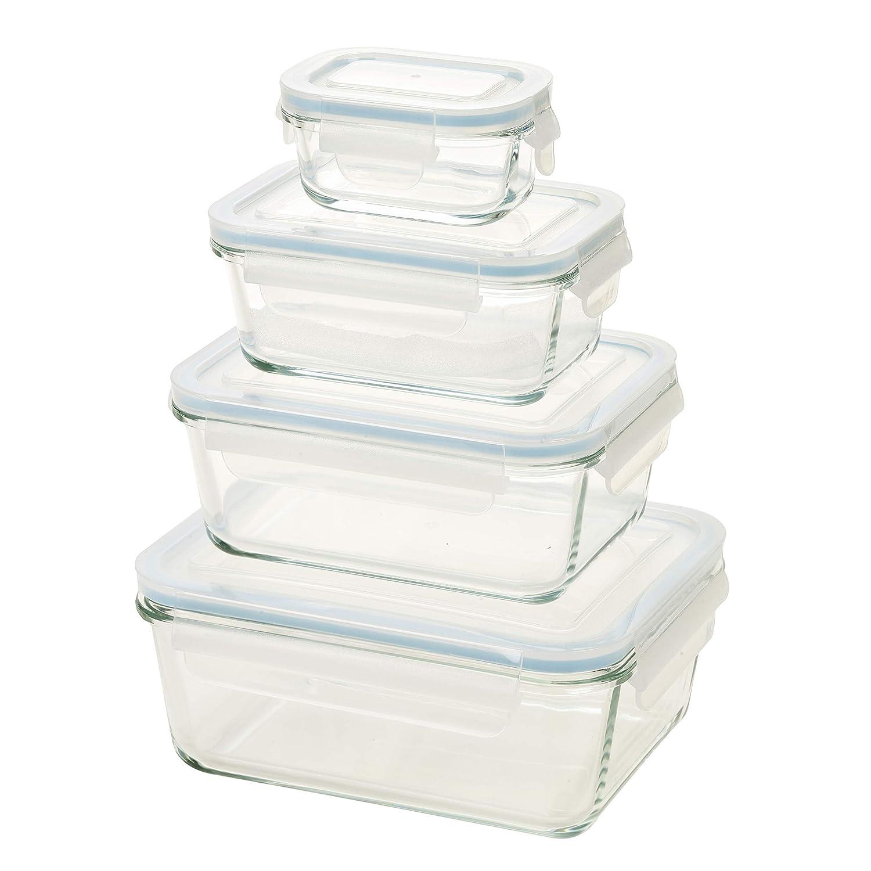 Homiu vetro set di 4 contenitori per alimenti con coperchi forno lavastoviglie microonde freezer ermetico resistente agli urti 8Pcs Glass Container with Scale /& Pen Transparent