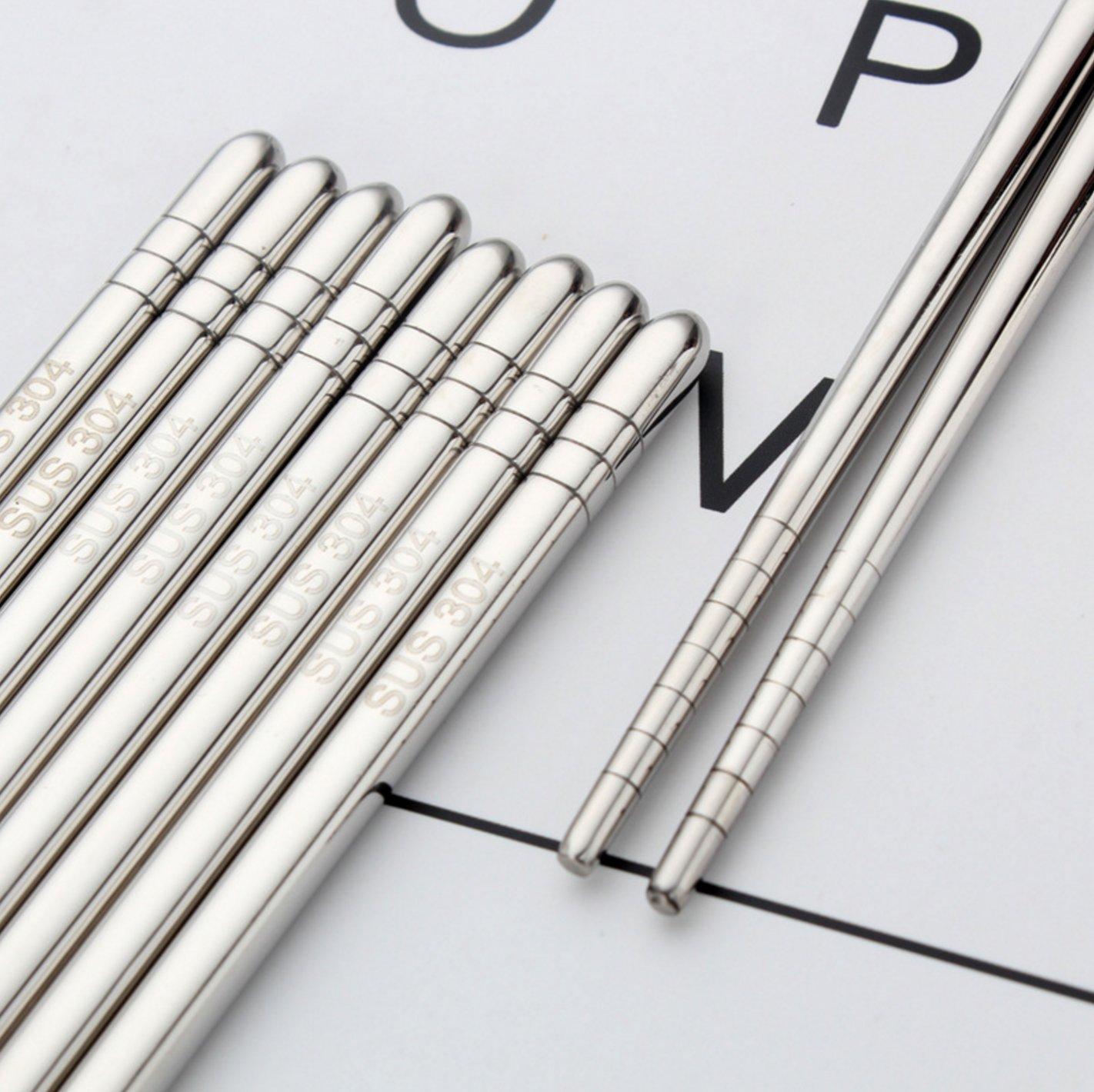 Kitchen Art Chopsticks Stainless Steel 10 Pairs Vacuum Hollow Non-slip, 304 stainless steel chopsticks square by Bniweim