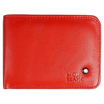 cb3d9f613d180 Original Mont Blanc Red Color Leather Men's Bi fold Money Bag purse Wallet  Purse for Men