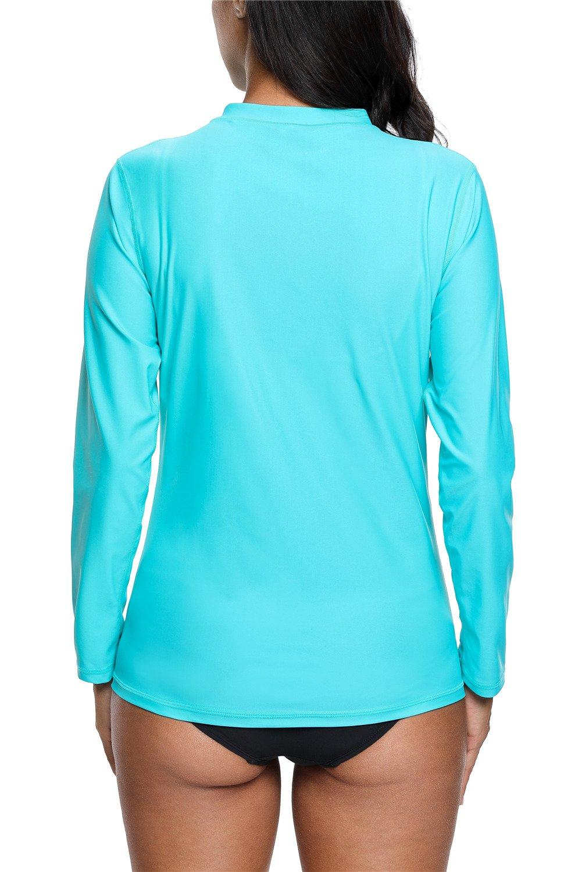 anfilia Women Striped Long Sleeve Rashguard Top UV Sun Protection Floral Swim Shirts