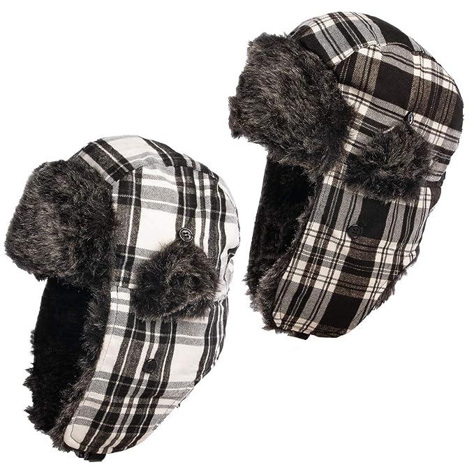 054c0912a Amazon.com: Nochilla (2 Pack Trapper Hat Ear Flaps Faux Fur Winter ...
