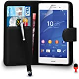 Sony Xperia Z3 Premium Leather Black Wallet Flip Case Cover Pouch + Big Touch Stylus Pen + RED 2 IN 1 Dust Stopper + Screen Protector & Polishing Cloth SVL2 BY SHUKAN®, (WALLET BLACK)