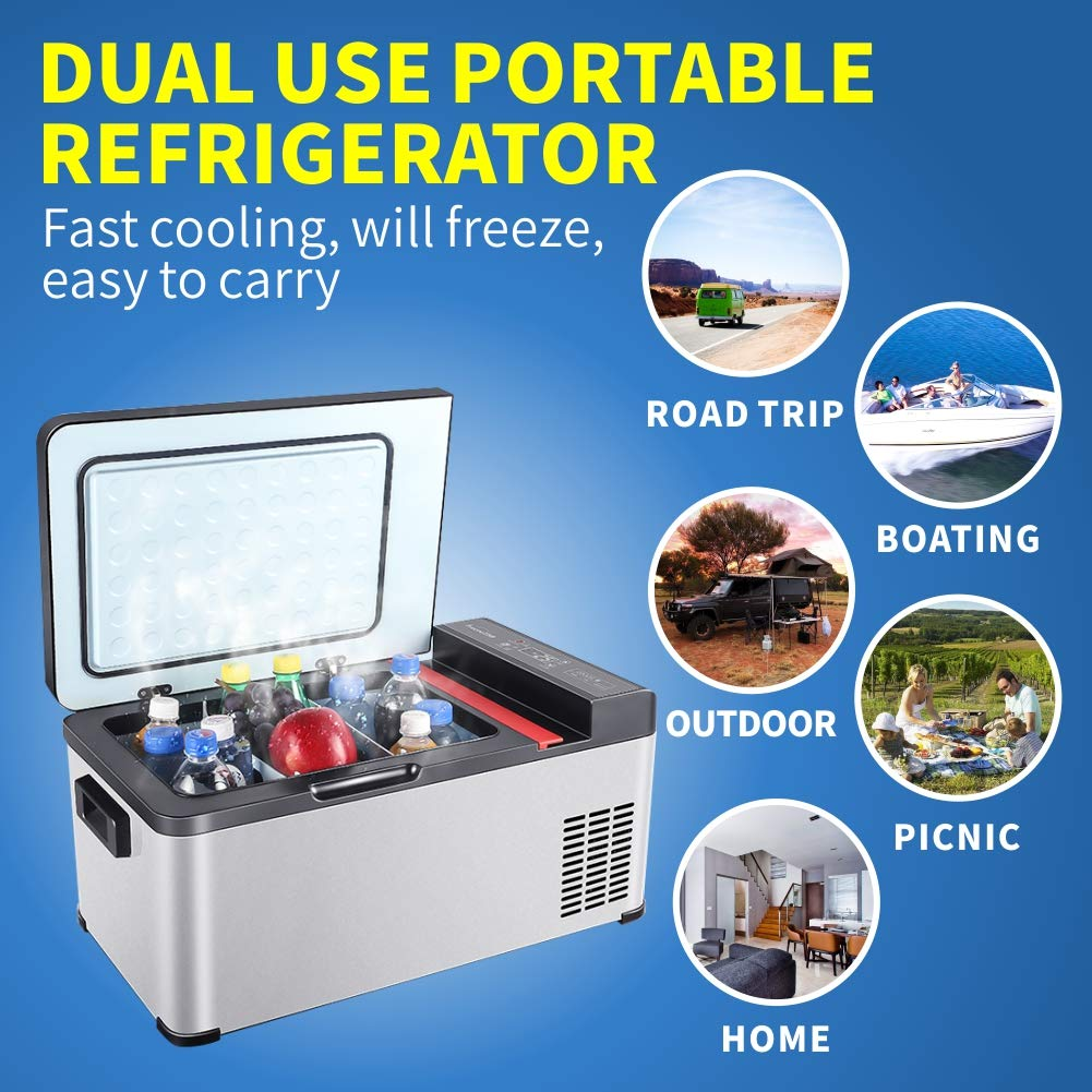 Jubatus Portable Refrigerator 19 Quart(18 Liter) Freezer Compressor Refrigerator for Car Travel Fishing Picnic Outdoor Party and Home Use Car Fridge Portable by Jubatus (Image #2)