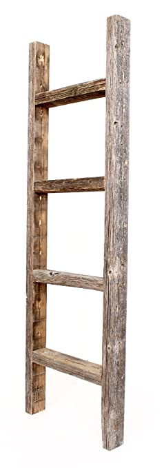 barnwoodusa rustic 4 foot decorative wooden ladder 100 reclaimed wood - Decorative Wood