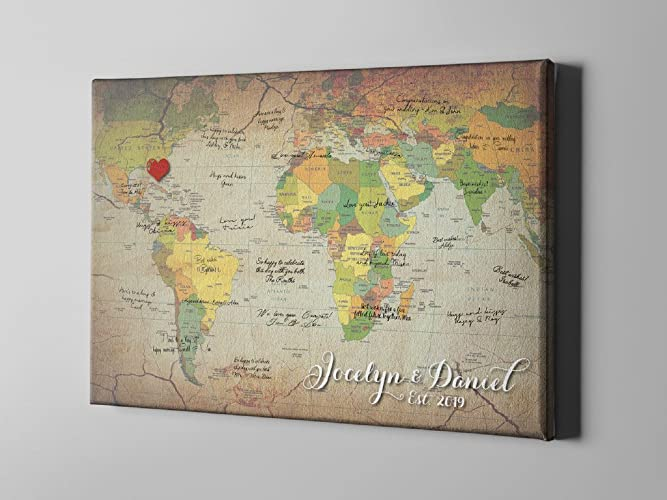 Amazon sale 50 off canvas guest book retro world map guest sale 50 off canvas guest book retro world map guest book travel themed gumiabroncs Image collections