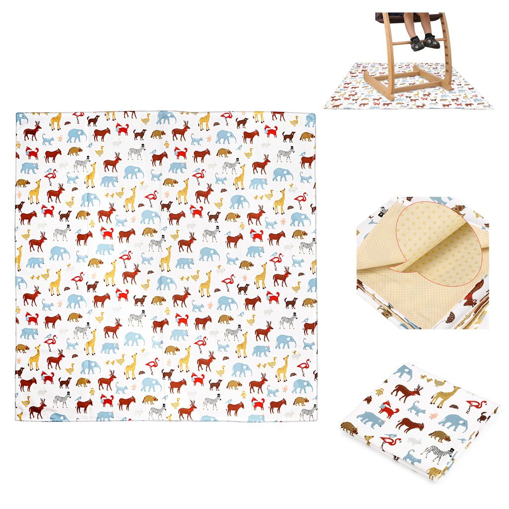 Sumnacon Baby Splat Mat For Under High Chair Floor Protector, Reusable Washable Feeding Highchair Mat For Floor, Food Splash Spill Floor Mats and Portable Play Mat For Babies (White Animal)