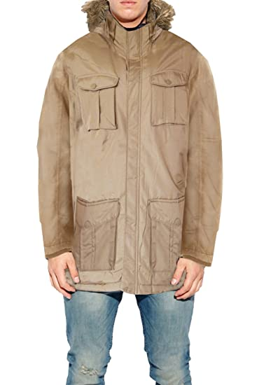 a1bd674c70e03 Mens Brave Soul Water Resistant Faux Fur Hooded Trim Canadian Navy Parka  Coat  Amazon.co.uk  Clothing