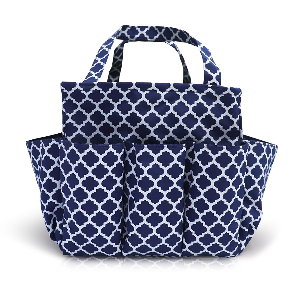 Multi Purpose Tote garden Tools Bag farm Fresh Tote with Multi Pockets 4 Side Pouches (Navy Blue)