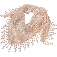 Bestgift Women's Solid Color Lace Tessal Triangle Summer Scarf