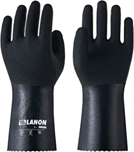 LANON Nitrile Chemical Resistant Gloves, Heavy Duty Work Gloves, Micro Foam Non-slip, Latex Free, Reusable, CAT III, Large