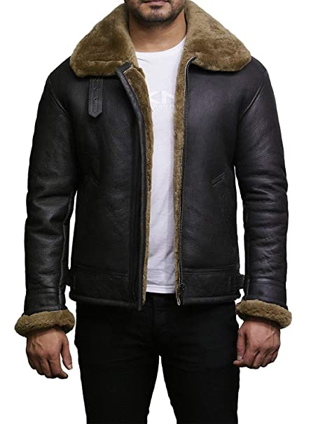 Brandslock Para hombre real de piel de oveja de piel de oveja chaqueta de vuelo de cuero