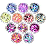 Nail Art Flake 12 Boxes Nail Glitters Circle Confetti Glitter Chunky Glitters for Hair Face and Eye Make Up Foil Flakes for Slime (12 Colors, Circle-Mix)