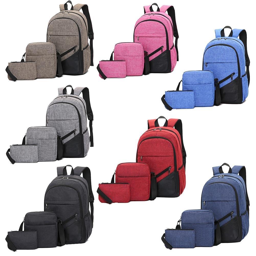 backpack 3-piece business computer leisure travel bag for men and women high school student schoolbag set small shoulder pencil case rucksack backpacks