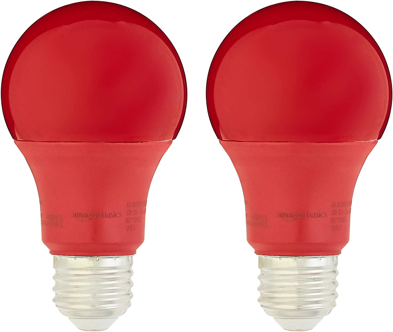 AmazonBasics 60 Watt Equivalent, Non-Dimmable - A19 LED Light Bulb, Red, 2-Pack