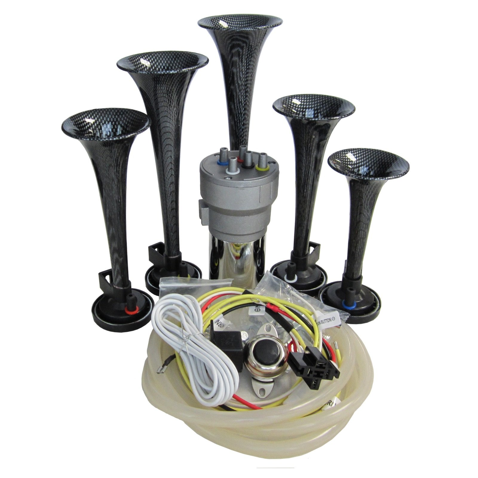 OEMLINK International LTD Dixie Air Horn Carbon Fiber Look - Dixieland Premium Full 12 Note Version with Installation Wire Kit and Button by OEMLINK International LTD (Image #1)