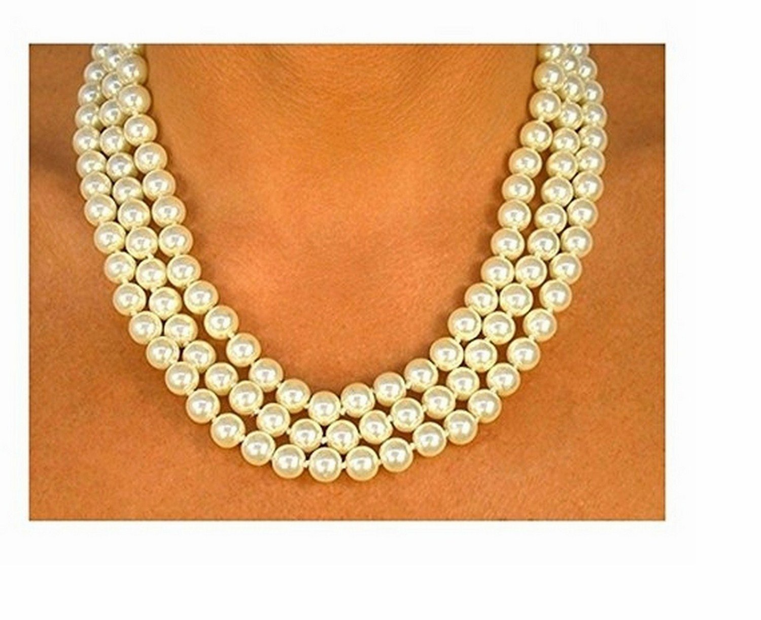 Cream Color Triple- Strand 8mm Faux Pearl Necklace by Lonestar Jewelry