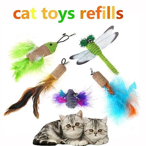 XuanXuan 5pcs Juguete interactivo del gato Gato divertido del animal doméstico Juego Replica Plumas Teaser para