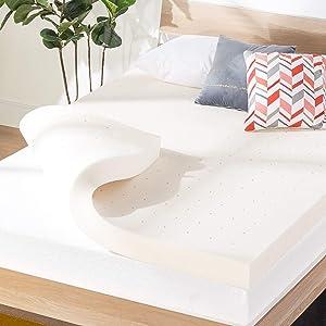 Best Price Mattress 4 Inch Ventilated Memory Foam Mattress Topper, CertiPUR-US Certified, King, White