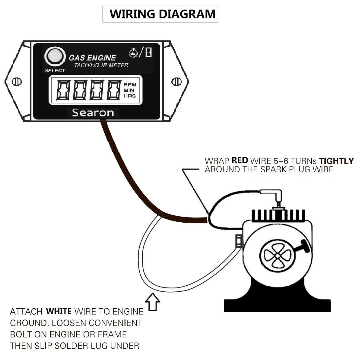 Searon Digital Hour Tachometer Rpm Counter For Snowmobile Skis Motor Dragon Tach Wiring Diagram Bike Go Kart Lawn Mower Wzxhm Srt 26 Categories Patio Garden Tibs