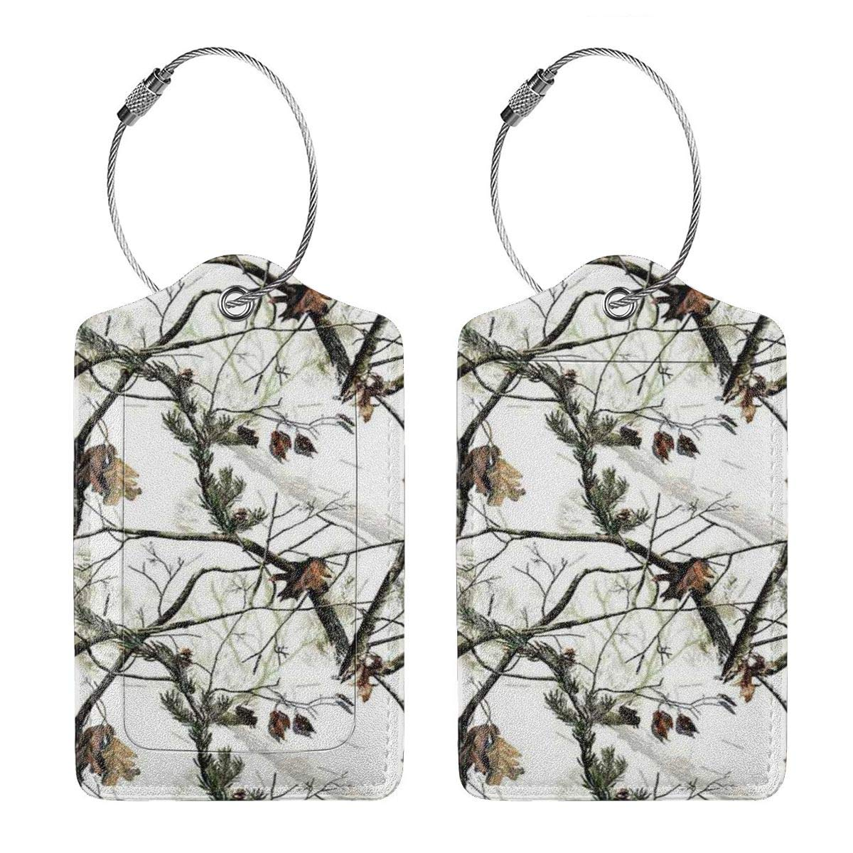 GoldK White Realtree Camo Leather Luggage Tags Baggage Bag Instrument Tag Travel Labels Accessories with Privacy Cover