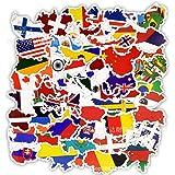 ステッカー ワールドマップ 世界の国旗 シール 旅行 防水 スーツケースステッカーセット