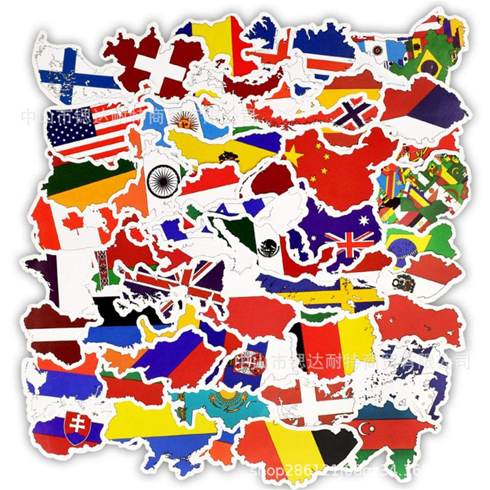 youngfate 50 Unids DIY Tarjetas Territoriales M/últiples Naciones Pegatinas Banderas Nacionales Pegatinas Juguetes De Scrapbooking Parches De Graffiti Vinilo Pegatina Graffiti Laptop Equipaje Ni/ños
