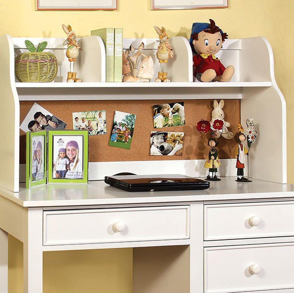 Furniture of America CM7905WH-HC Omnus White Hutch Miscellaneous-Home Office Desk