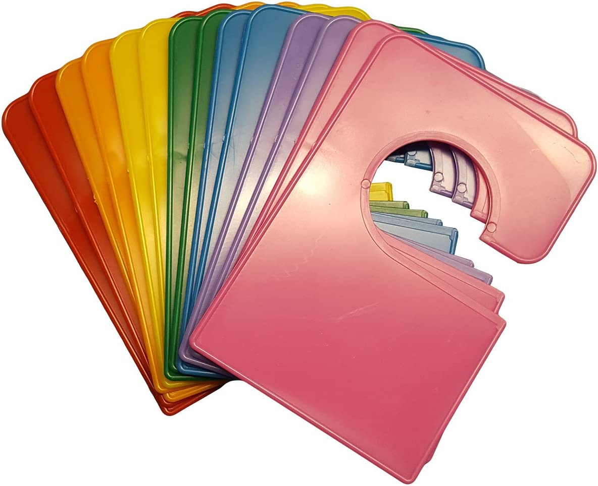 14 Large Blank Rainbow Adult Closet Clothing Size Dividers Rectangular 5.25x3.5 Inches Plus Labels