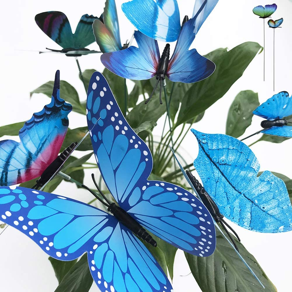 V-Time 24pcs Garden Butterfly Decorations Outdoor Waterproof Butterfly Stakes Ornaments for Indoor/Outdoor Yard/Christmas Patio Plant Pot Flower Bed Home Decoration (Blue)
