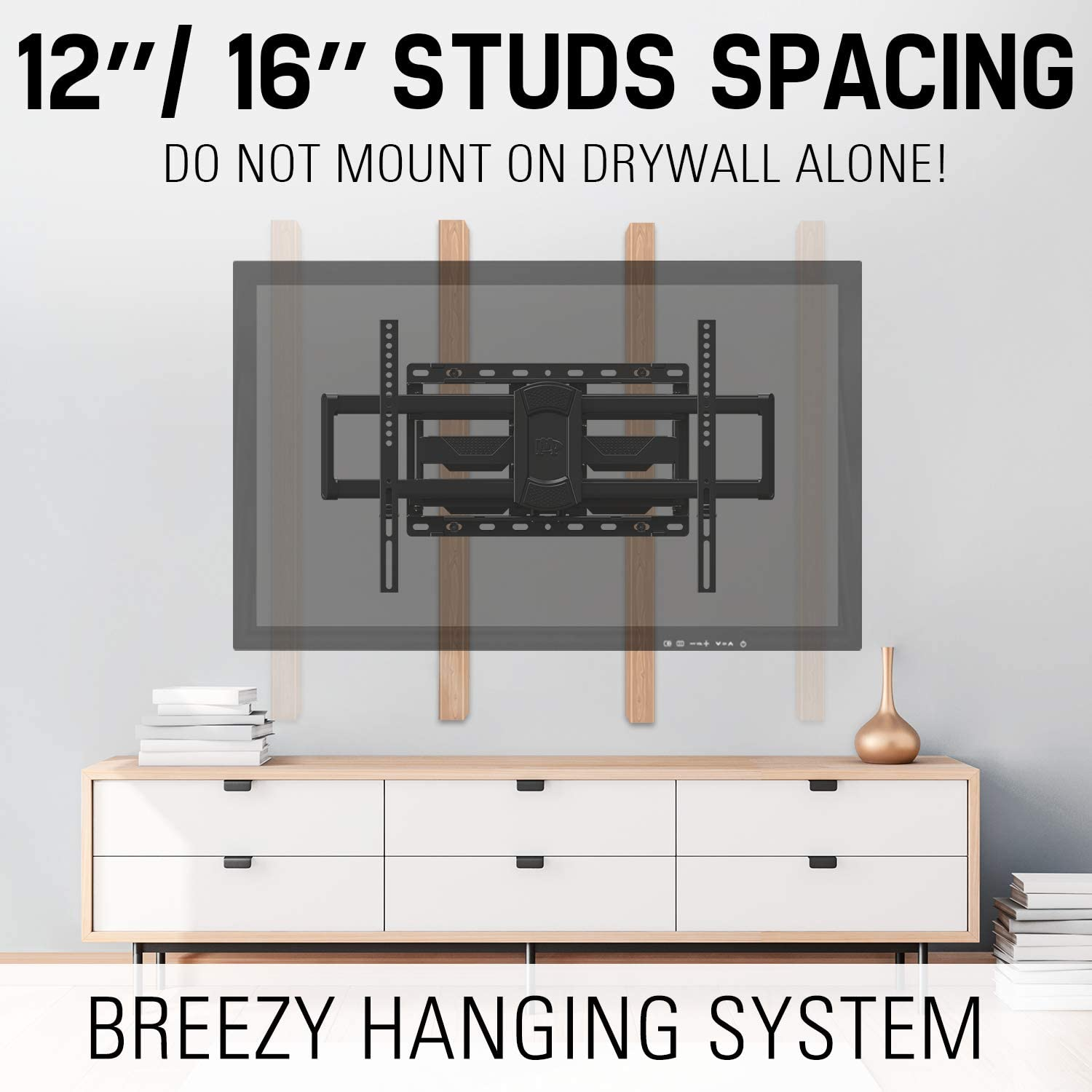 """Mounting Dream TV Mount- Full Motion TV Mount for 42-70 inch TVs, TV Wall Mount Bracket with Dual Articulating Arms, Fits 12""""- 16"""" Wood Studs, TV Wall Mounts with VESA 600x400mm Holds up to 100lbs"""