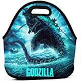 Cool Godzilla 2 Poster Neoprene Lunch Bag Tote Reusable Insulated Waterproof School Picnic Carrying Lunchbox Container Organizer For Men, Women,Kids