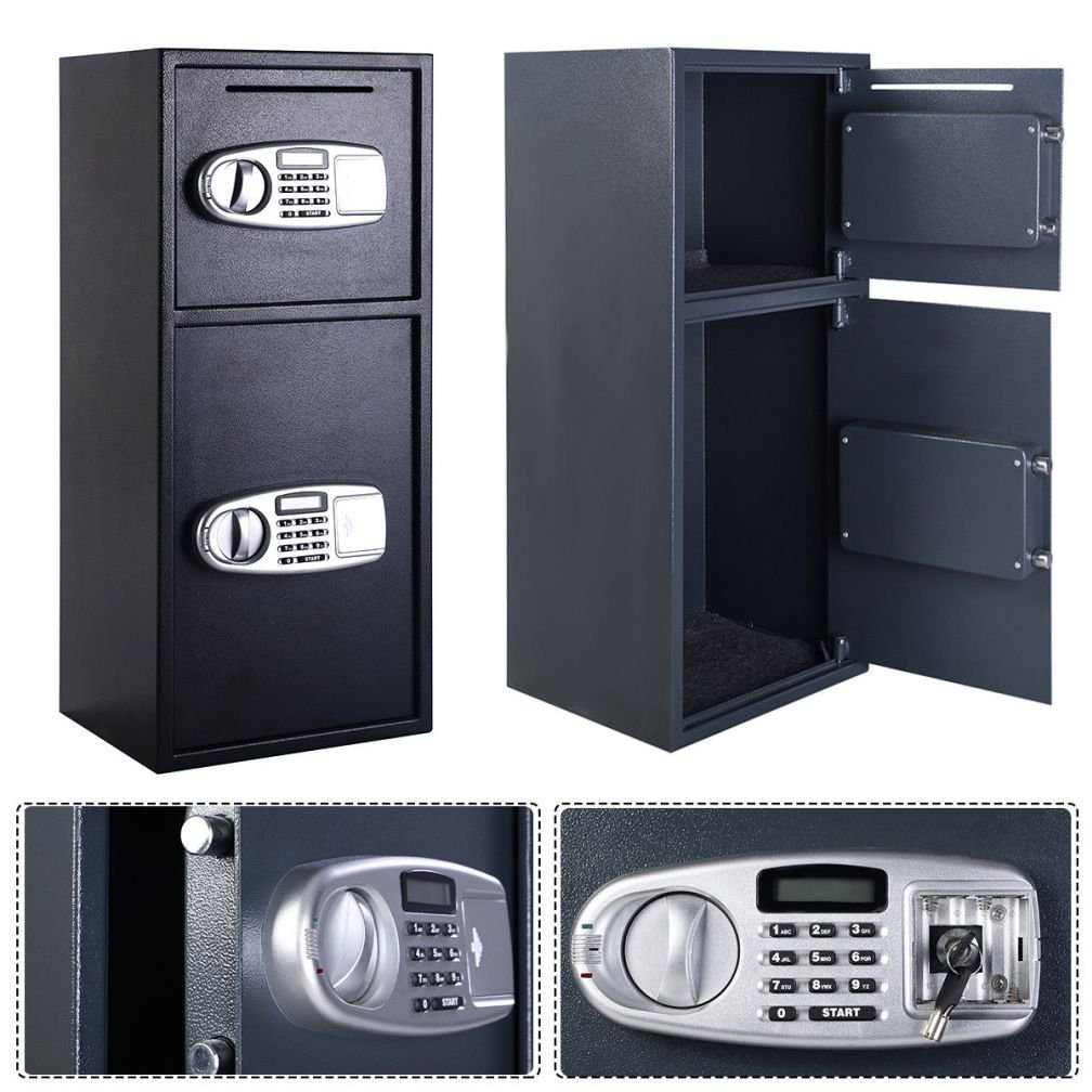 Fashion Double Door Digital Safe Depository Drop Box Safes Cash Office Security Lock New by Gomangos Good Furniture B01G9SBFGO