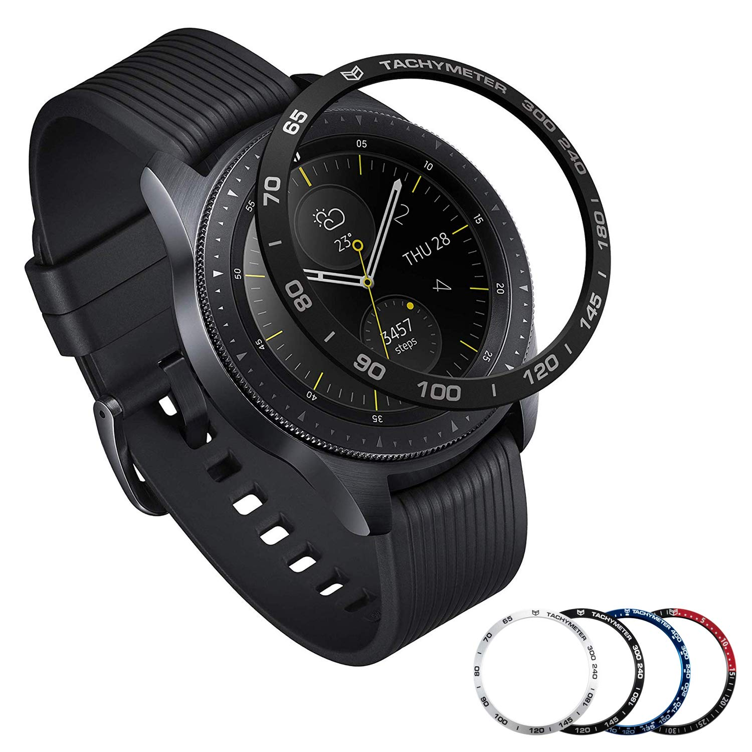 [Aluminum] Galaxy Watch 46mm Bezel Styling, Galaxy Gear S3 Frontier & Classic Bezel Ring Adhesive Cover Anti Scratch Aluminium Protection Tachymeter, Design for The Galaxy Watch Accessories - Black by Yawenner