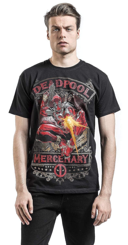 Deadpool Camiseta Hombre Mercenary Marvel Cotton Black