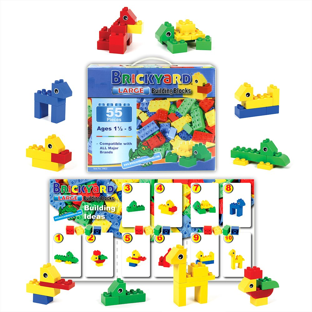 [55 Pieces] Compatible Large Building Block Toys by Brickyard, For Children Ages 1.5 - 5, Fits Large Blocks - Bulk Block Set Review