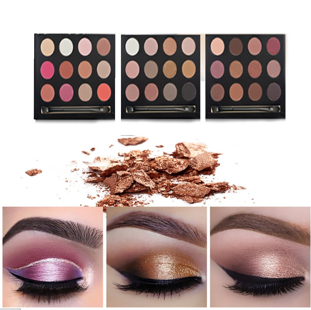 Eyes, Vinmax Metallic Shimmer Eye Shadow Palette, 12 Colors Eye Shadows Warm Natural Waterproof Eye Shadows Set for Valentine's Day 2#