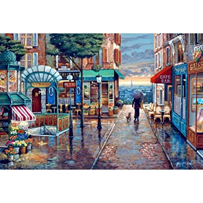 Wood Jigsaw Puzzles 1000 Pieces for Adults Kids-Romantic Town,Every Piece is Made of Basswood,Softclick Technology Means Pieces Fit Together Perfectly: Clothing
