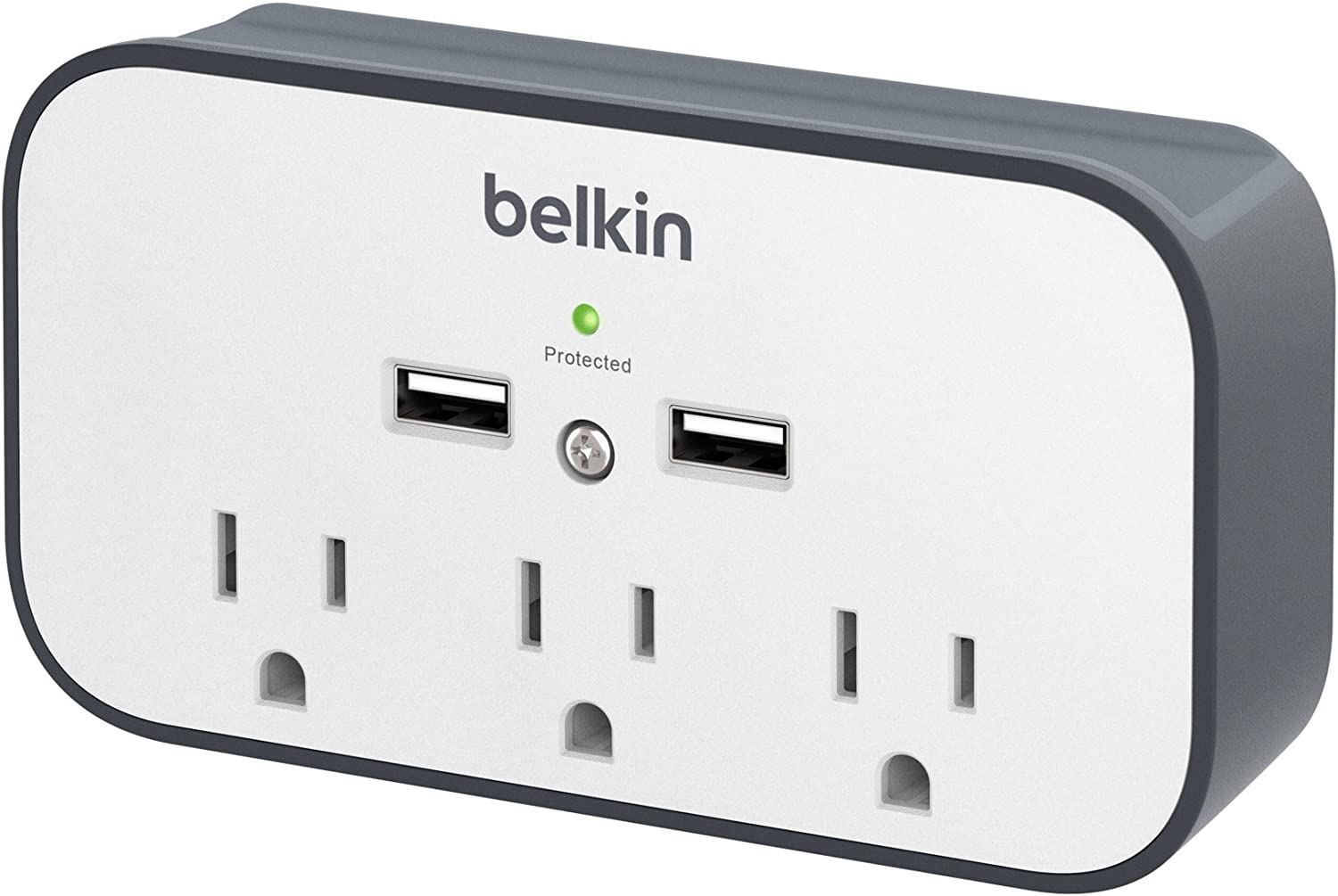 Belkin 3-Outlet Wall Mount Cradle Surge Protector with Dual USB Charging Ports (2.4 Amp Total)