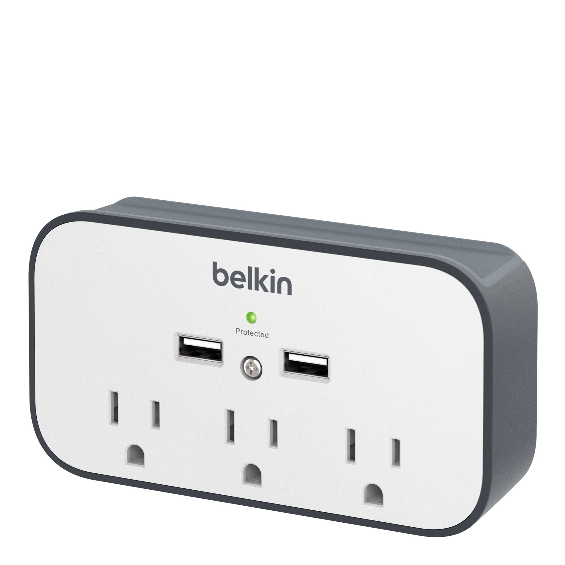 Belkin BSV300ttCW 3-Outlet Wall Mount Cradle Surge Protector with Dual USB Charging Ports (2.4 Amp Total)