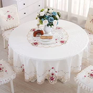 El estilo europeo bordado mantel Redondo mantel Mantel Tabla de té toalla-A diámetro175cm(69inch): Amazon.es: Hogar